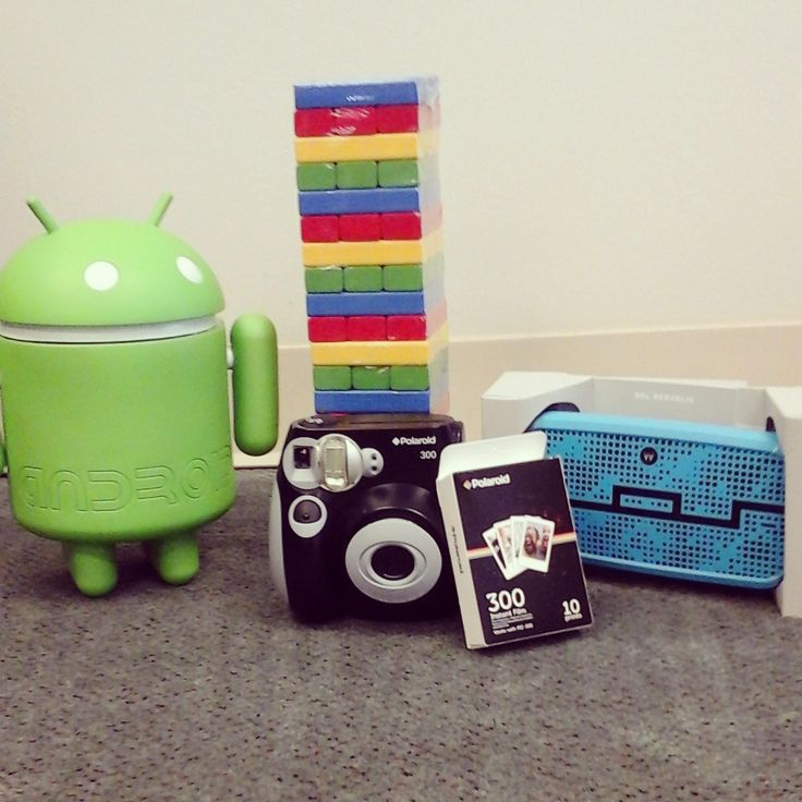 Google Swag just came in! Android cookie jar, Jenga, Polaroid camera, and a Motorola speaker! Today's going to be fun.