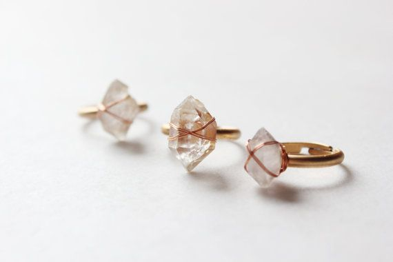 raw Herkimer Diamond Ring-antique brass adjustable ring-raw crystal point ring