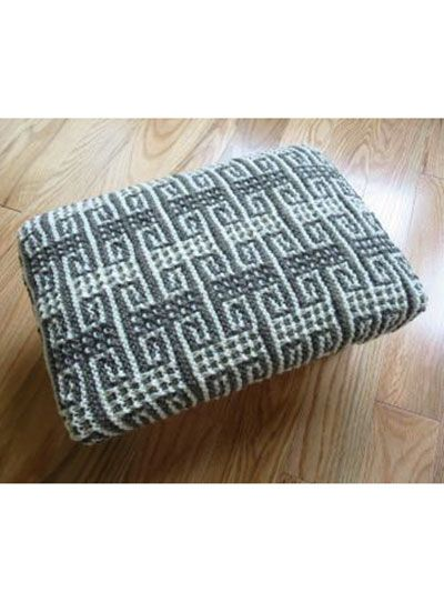 Free Knit Pattern Download -- This Mosaic Key Footstool Cover, designed by Ju...