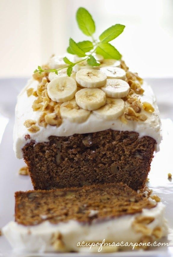 banana-pumpkin bread | a cup of mascarpone