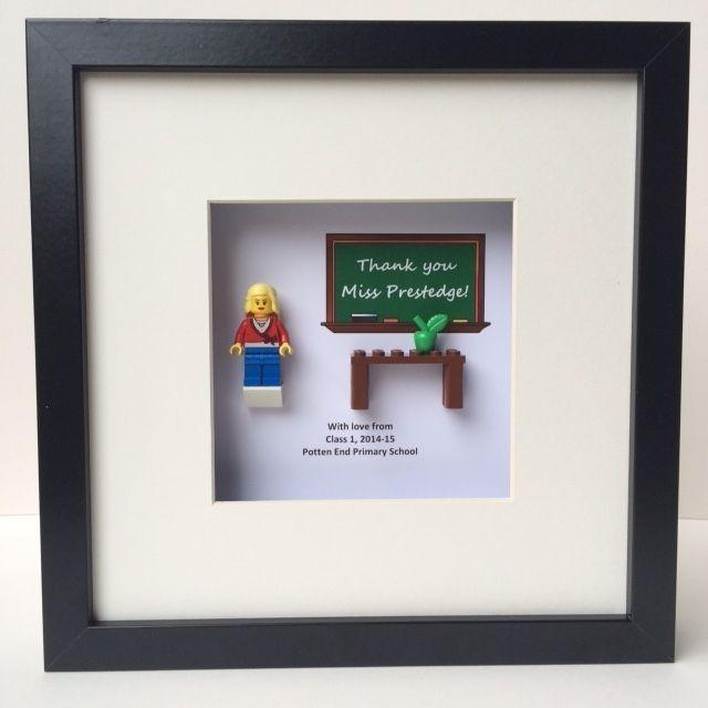 Lego Teacher minifigure framed art - unique personalised teacher/ end term gift