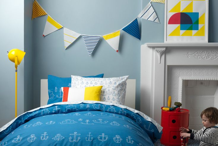 #Nautical design- perfect for a #toddler #room. #blue #yellow #penantbanner