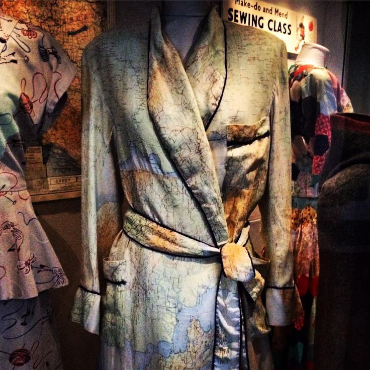 Dressing gown made from silk 'escape maps' issued to WW2 Allied aircrew