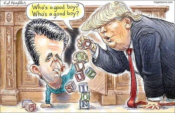 Ed Wexler - PoliticalCartoons.com - Who's a Good Boy - English - Donald, Trump, junior, jr, stunning, admission, Kremlin, Russian, lawyer, Hillary, meddling, election, adoption, idiot, criminal, treason, collusion