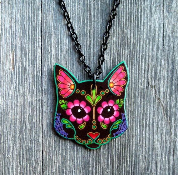 Day of the Dead Sugar Skull Kitty Cat by PrettyInInkJewelry, $16.95