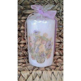 Birthsign Cancer faerie hand decorated pillar candle