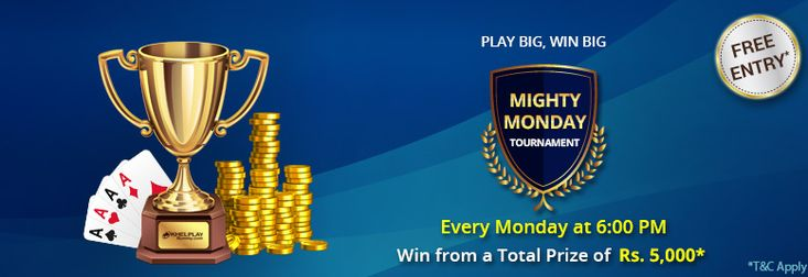 Join #KhelPlayRummy  Mighty Monday tourney for Free and win cash prizes worth Rs.25,000.