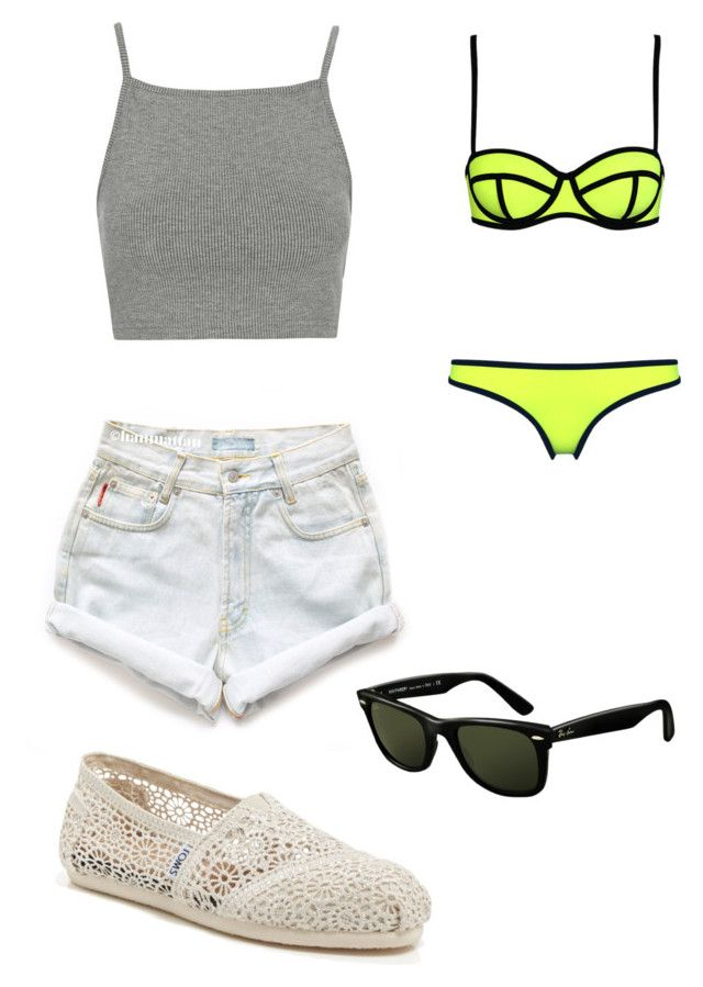 Beach #2 by dianatairum on Polyvore featuring Topshop, Levi's, Milly, TOMS and Ray-Ban