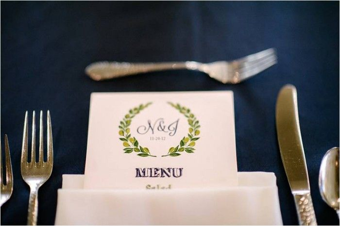 Customized Menu Cards | Navy Rustic Elegance Proximity Hotel Wedding | Julie Livingston Photography | Leigh Pearce Weddings, Greensboro North Carolina Wedding Planner, Stylist, Coordinator