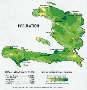 Haiti Population Density Map (1970)