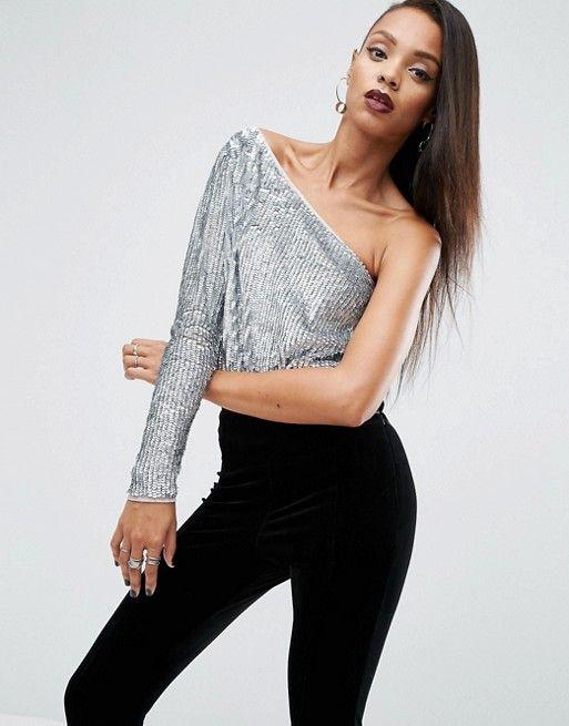 One shoulder embellished sequin silver top