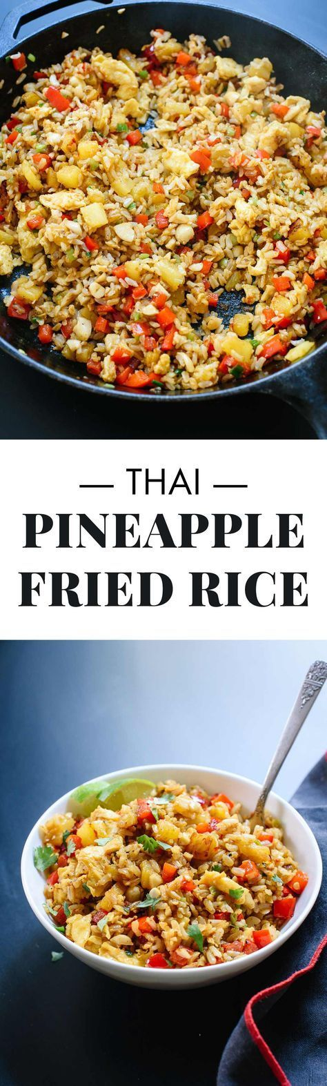 Learn how to make restaurant-quality Thai pineapple fried rice at home with this recipe! It's SO tasty and easy to make.