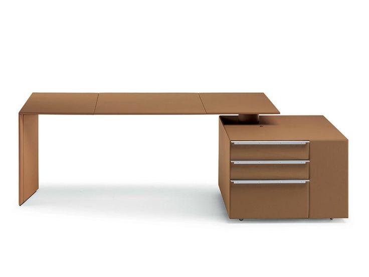 C.E.O. CUBE DESK Scrivania con scaffale integrato by Poltrona Frau design Vignelli Associates