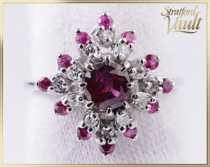 Vintage ~ Ruby & Diamond Ring ~ 10K White Gold ~ 1.45 ctw Genuine Brilliant Cut Rubies ~ 0.24 ctw Genuine Single Cut Diamonds ~ STR15050 by StratfordVault on Etsy