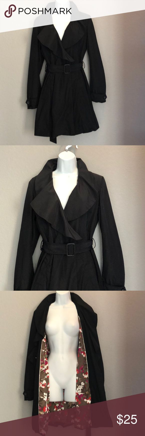 Black Trench Coat Size Medium Stylish Black Trench Coat Size Medium  Two clip buttons  💯 polyester Very light weight easy to travel with. Pre owned - very good shape isipiri Jackets & Coats Trench Coats