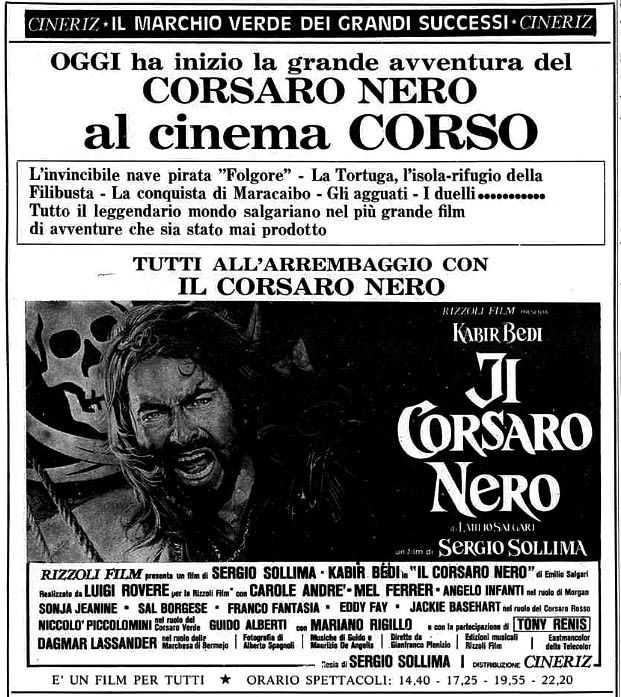 """""""Il corsaro nero"""" (1976) di Sergio Sollima, con Kabir Bedi e Carole André. Italian release: December 21, 1976 #MoviePosters"""