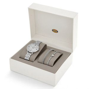 Jam Tangan Original Fossil Jacqueline Three-Hand Date Stainless Steel and Bracelet Set ES3698