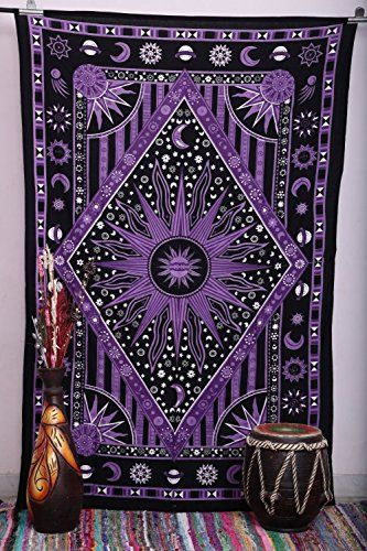 Purple Burning Sun Tapestry Celestial Sun Moon Planet Tapestries Hippie Hippy Wall Hanging sun moon tapestry twin Psychedelic tapestry Burning Sun Tapestries Bohemian Wall hanging dorms tapestries beach sheet *** Continue to the product at the affiliate link Amazon.com.