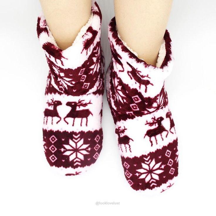 Plush Fleece Lined Flannel Reindeer Sock Slippers -  - Slippers, www.looklovelust.com - 20,  https://www.looklovelust.com/products/plush-fleece-lined-flannel-reindeer-sock-slippers