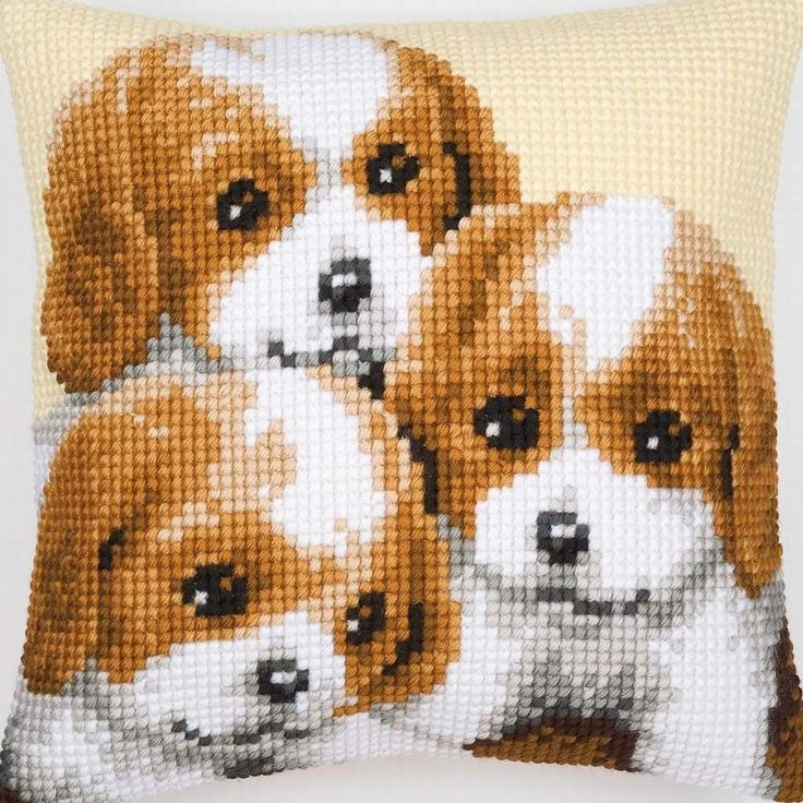 3 Puppies - cross-stitch cushion - Vervaco
