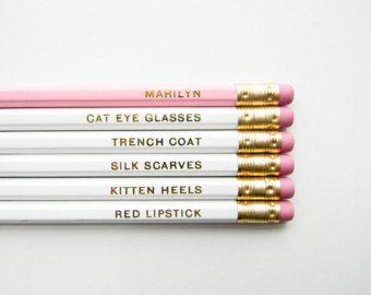 Zachte herinneringen potloden  wit en goud Set van 6 door ACDShop