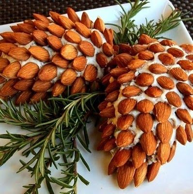 Cheese Spreadno decorated like pine cones.- so neat for Christmas!