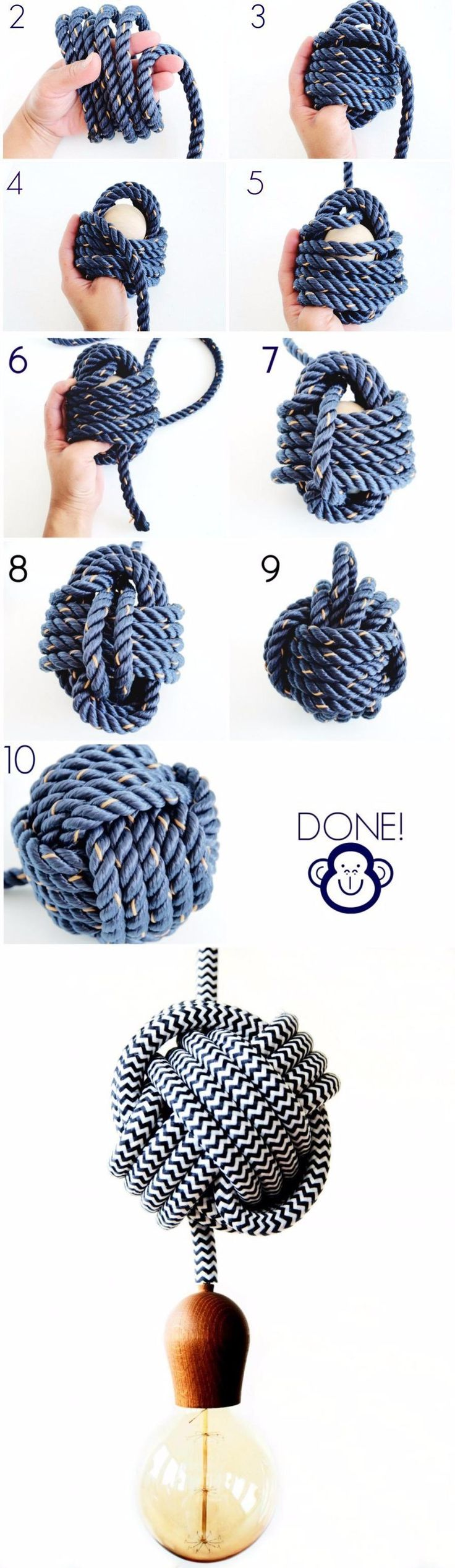 Bombilla colgante con nudo - monsterscircus.com - DIY Knot Pendant Light