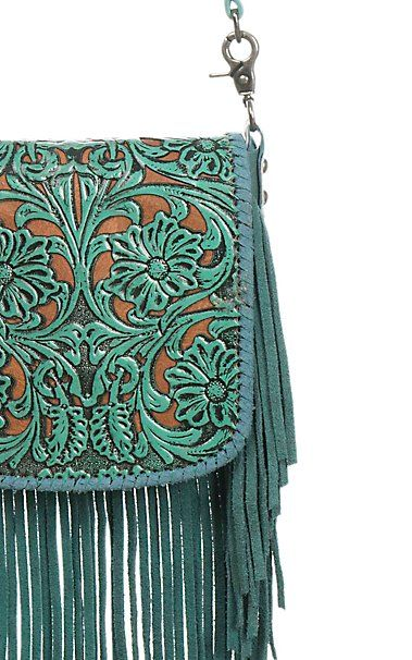 Montana West Turquoise Floral Embossed with Tan Inlay and Fringe Crossbody Western Purse | Cavender's
