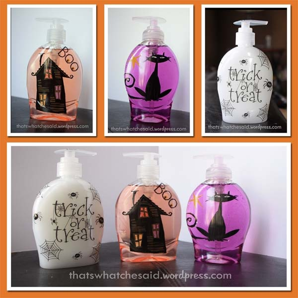 What a totally awesome idea!  She removed the labels from pump soap and added Halloween stickers.  I'm going to get myself some vinyl and put my Cricut to good use!  Love this!