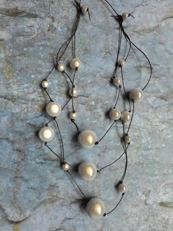 Homemade necklace / women's jewelry / miracle beads leather straps by Liesbeth Visscher at JHFWBeadsAndFindings on #Etsy #jewelry #jewelery #jewellery #handmade #miraclebeads #etsian #handmade