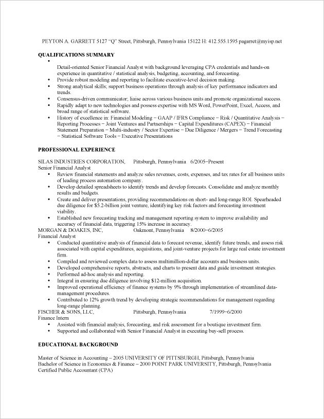 125 best Finance images on Pinterest Finance, Advice and Spam - sample financial analyst resume