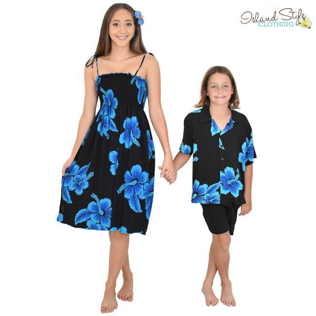 Ladies Tube Dress And Boys Hawaiian Shirt Black Blue Hibiscus Floral Print Sweet Set For A Cruise Fancy Dress Halloween Beach Wedding Or Family