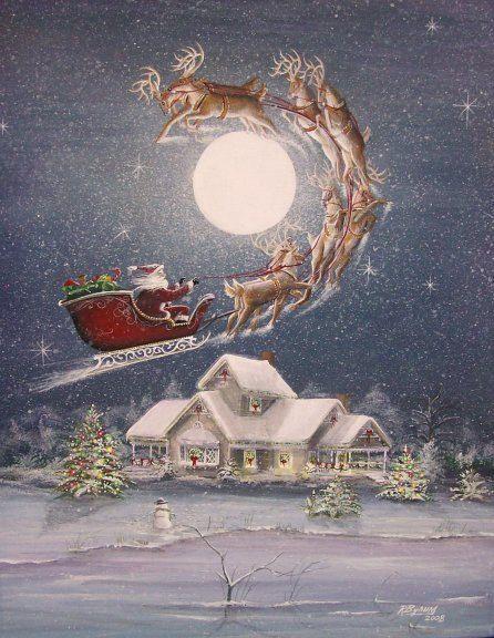 Folk Art Christmas Santa Sleigh Reindeer PRINT Snow by sunbyrum