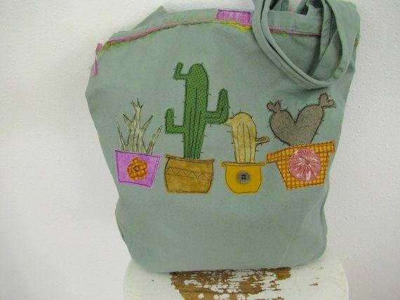 Cactus and Succulent Bag Cotton Canvas Bag от StitchesbyJulia