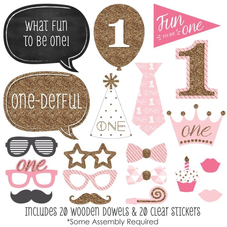 Amazon.com: 1st Birthday Girl - Fun to be One - Photo Booth Props Kit - 20 Count: Toys & Games