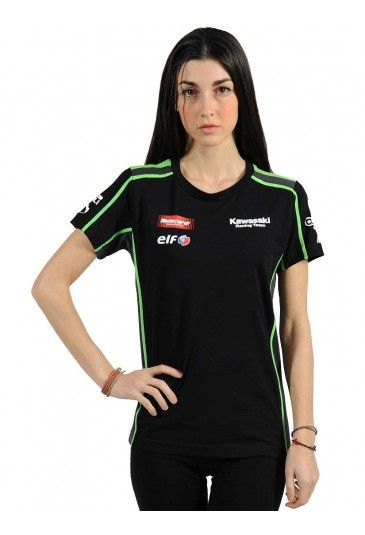 #Women's version of the official #Kawasaki Racing Team replica T-shirt. 100% cotton T-shirt with grey mesh side panels and green piping that stands out against the black cotton. Sponsor logos are embroidered on the chest and right sleeve. The Kawasaki Racing Team large high-definition logo is featured on the front and back.