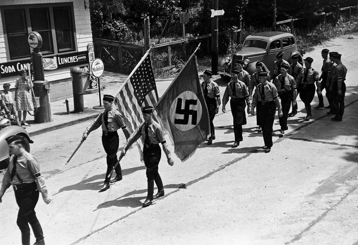 1937; American Nazis, members of an organization known as the German American Bund, marching in Yaphank, New York