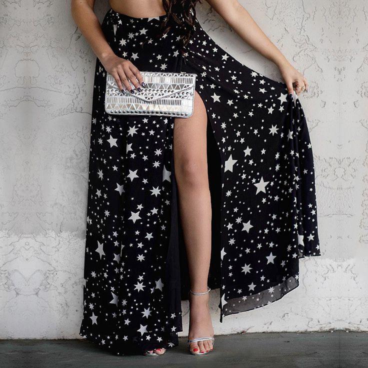 Just need to close that split up some... Star Print Fashion Chiffon Split Skirt