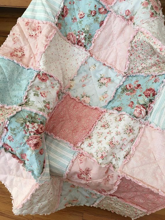Crib Rag Quilt Baby Girl Crib Bedding Shabby Chic Nursery Pink Blue Nursery   125