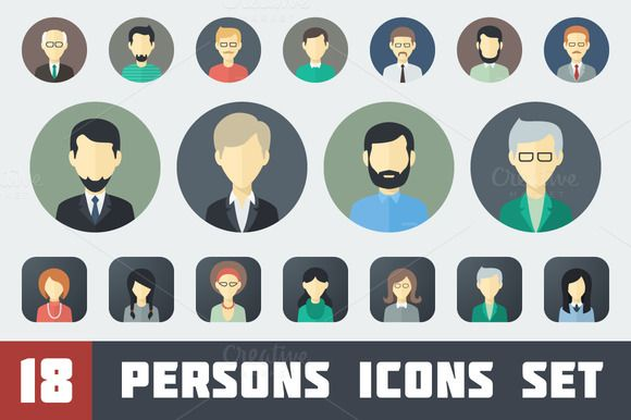 Check out Flat Persons Icons Set 1 by MastakA on Creative Market