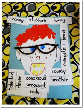 "Read...""My Rotten Redheaded Older Brother"" By Patricia Polacco. Then, use for character traits AND adjectives to describe. GREAT!"