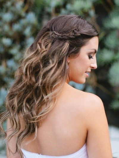 Hairstyle for strapless dresses-Pretty highlights+Braid