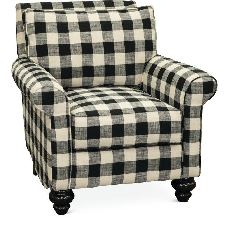 Black and white buffalo plaid accent chair blake rc