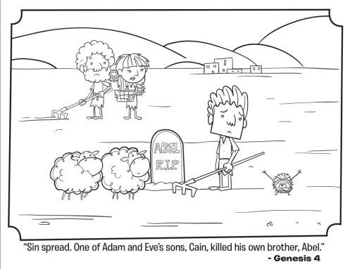 kids coloring page from whats in the biblefeaturing cain and abel from genesis volume in the beginning
