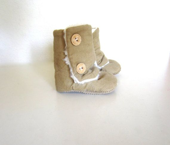 Tan Corduroy Baby Winter Boots by jengalaxy on Etsy, $27.90, 3-6 mo