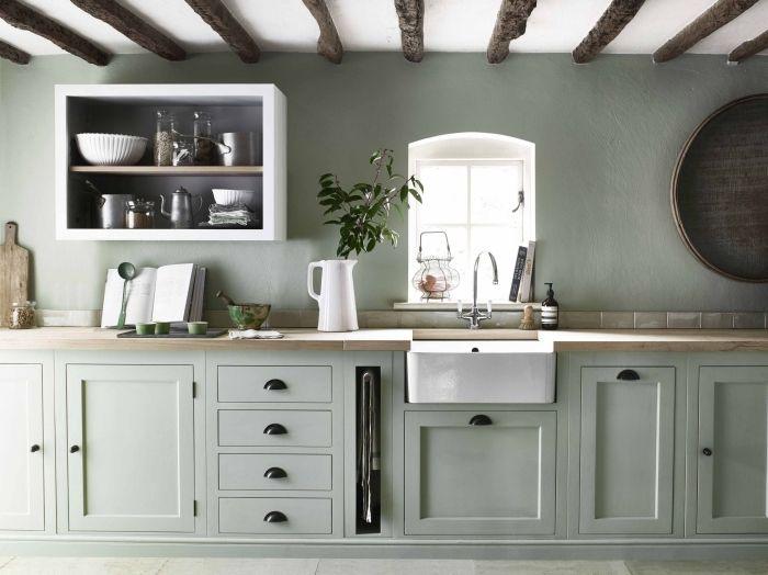 1001 Idees Comment Integrer La Peinture Vert De Gris Dans Son Interieur Pinterest Deco Cuisine Cuisines Maison Cuisines Rustiques Modernes