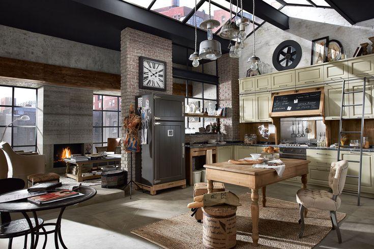 i want it! Marchi Group - Nolita Cucina Vintage - Cucina in legno sbiancato - Cappa con inserto in lavagna