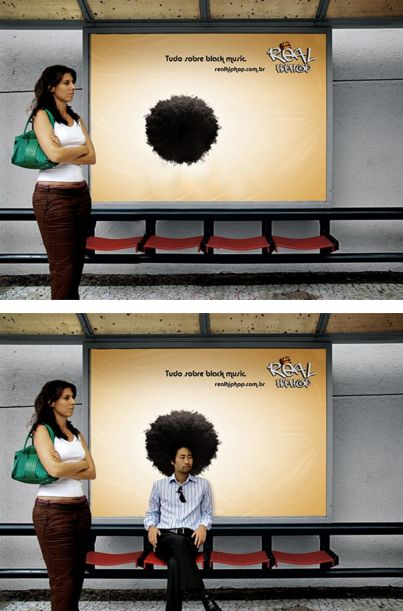 This clever bus stop ad promotes hip hop music in Brazil. Not sure at first what the fuzzy black circle is? You do as soon as someone sits down.