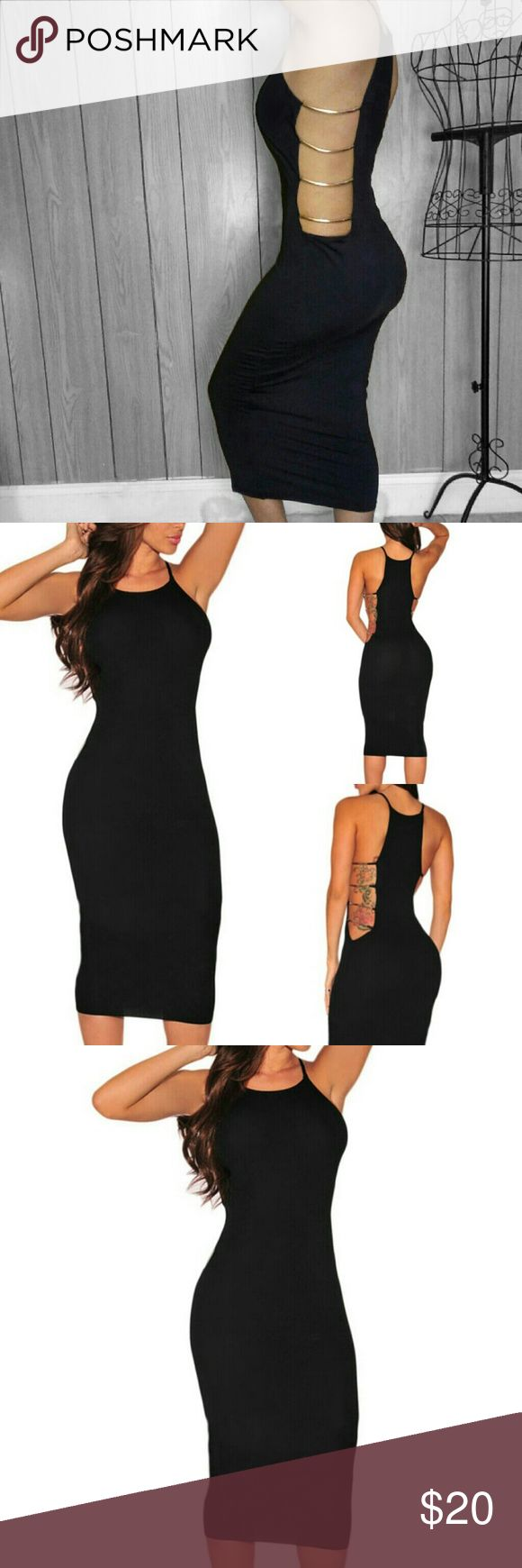 LAST S Black & Gold Caged Sides Little Black Dress HOT HOT HOT!  Your new go-to LBD is this Little black dress with Gold Hardware Cut Out Sides! Slip into this curve flattering little number on your next girls night out or date night! Midi length. Very smooth & soft fabric. The cut out sides give your body the most flattering, waist trimming shape! And they don't dig into your body or make you uncomfortable!  Dress this already elegant dress up with high heels & clutch! NIP Material…