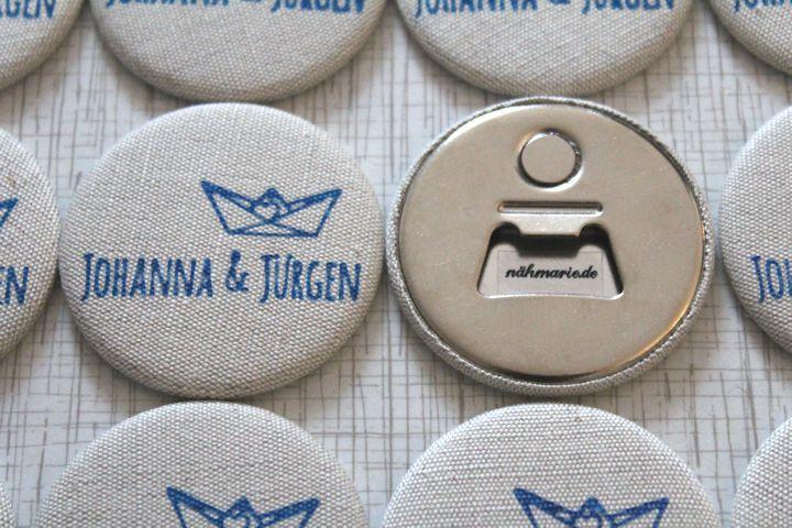 Personalisierte Flaschenöffner Hochzeit Taufe 56mm von nähmarie auf DaWanda.com